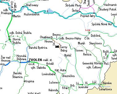 Közép-Szlovákia vasúti térképe